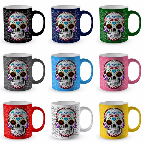 Sugar Skull - Day of The Dead Floral Satin Coated Premium Novelty Gift Mug